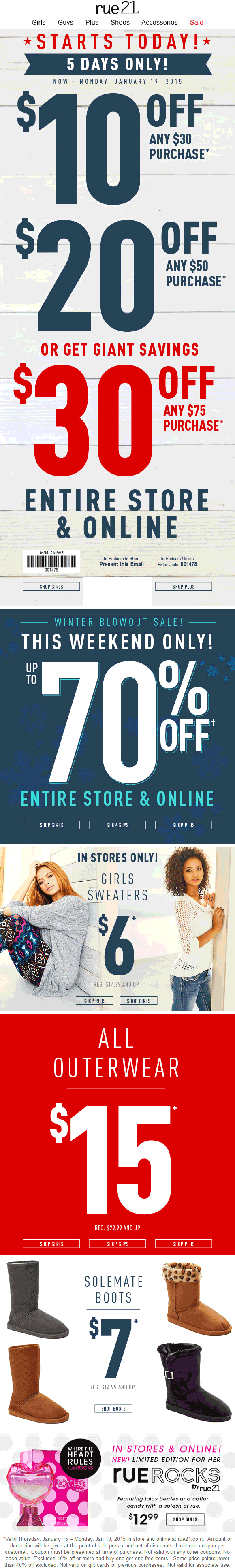 Rue21 Coupon August 2017 $10 off $30 & more at rue21, or online via promo code 001478