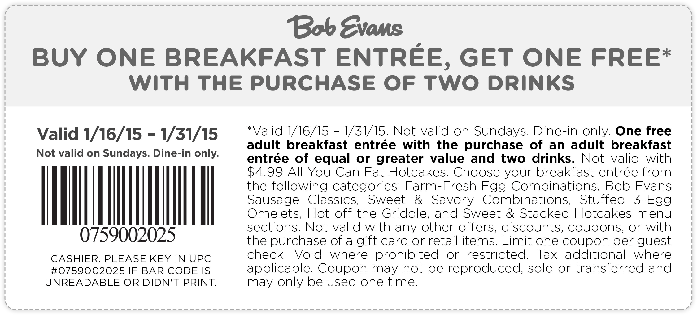 Bob Evans Coupon December 2016 Second breakfast free all month at Bob Evans