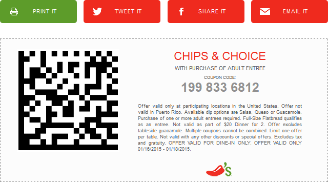 Chilis Coupon July 2018 Chips & queso or salsa free with your entree at Chilis