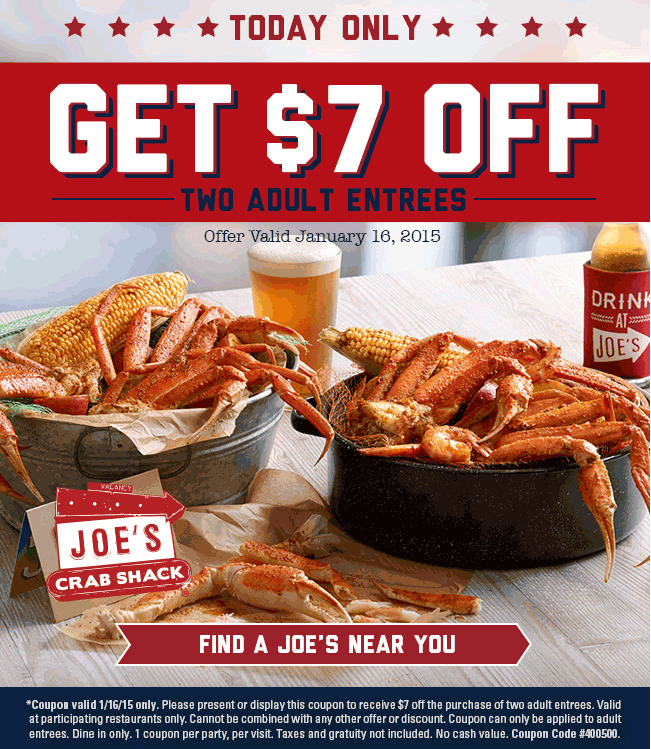 Joes Crab Shack Coupon August 2017 $7 off a couple entrees today at Joes Crab Shack