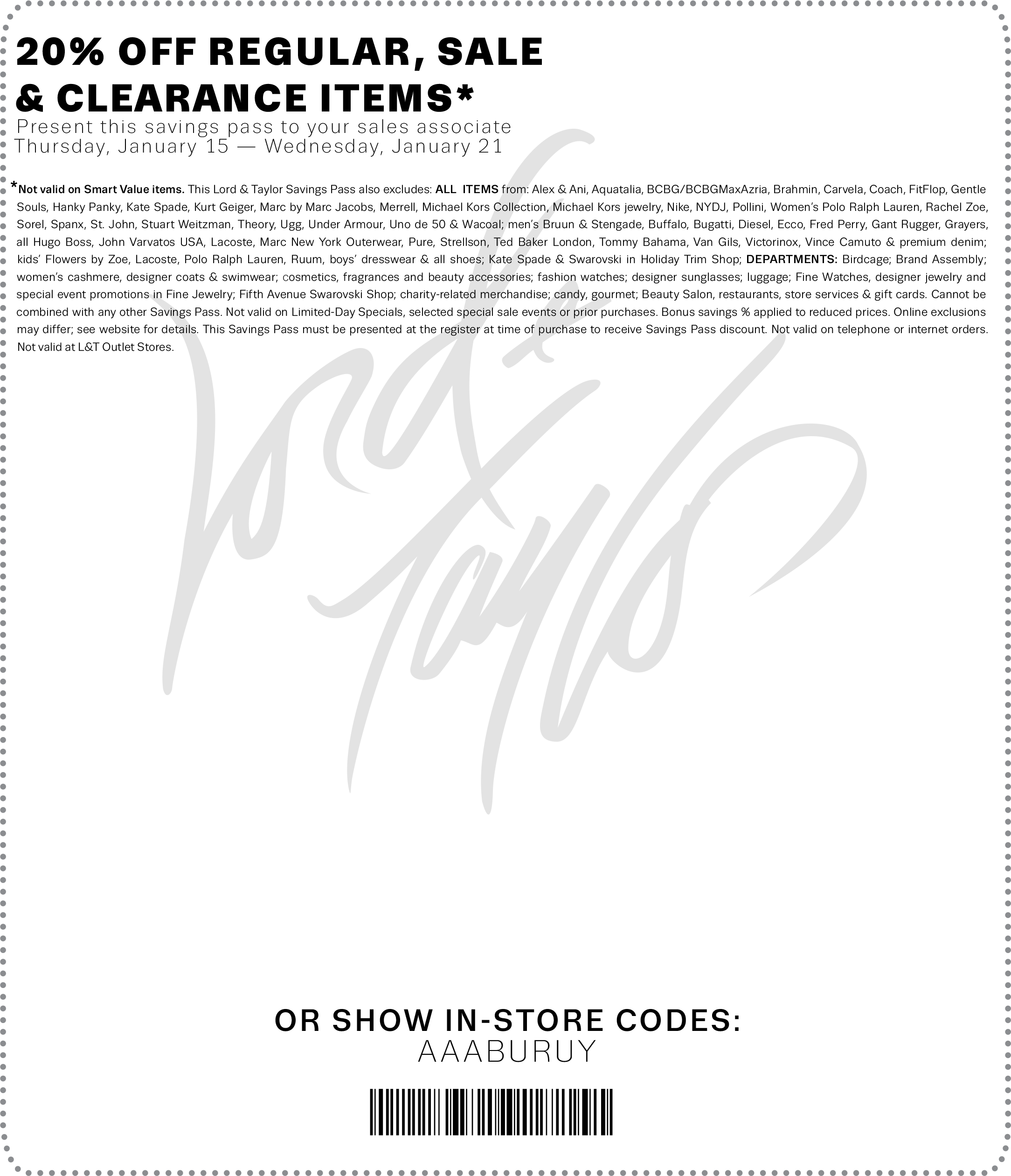 Lord & Taylor Coupon October 2016 Extra 20% off at Lord & Taylor, or online via promo code SAVE