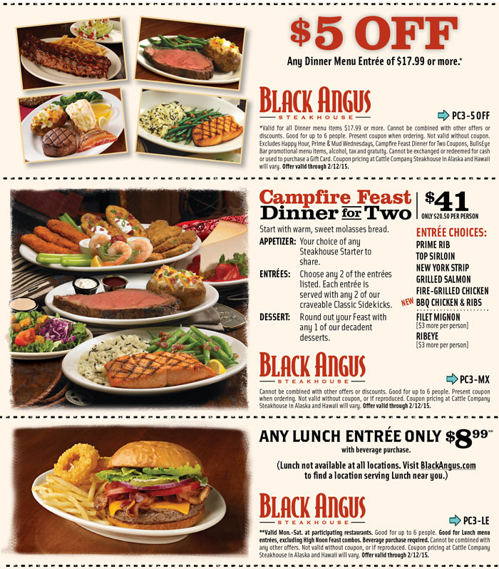 Black Angus Coupon July 2017 $5 off dinner at Black Angus steakhouse