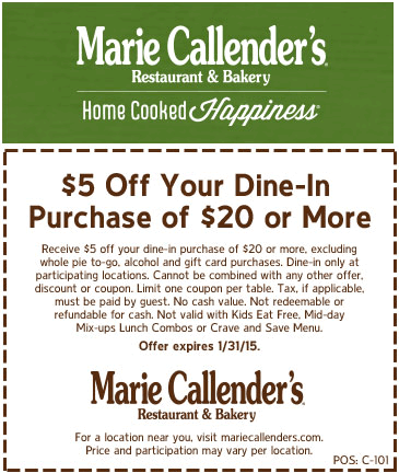 Marie Callenders Coupon February 2017 $5 off $20 at Marie Callenders restaurant & bakery