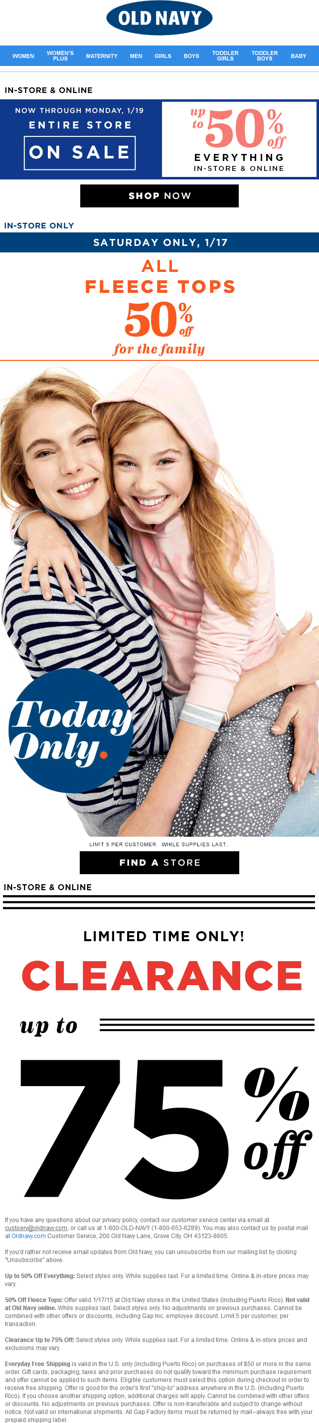 Old Navy Coupon March 2018 Everything is on sale this weekend at Old Navy, ditto online