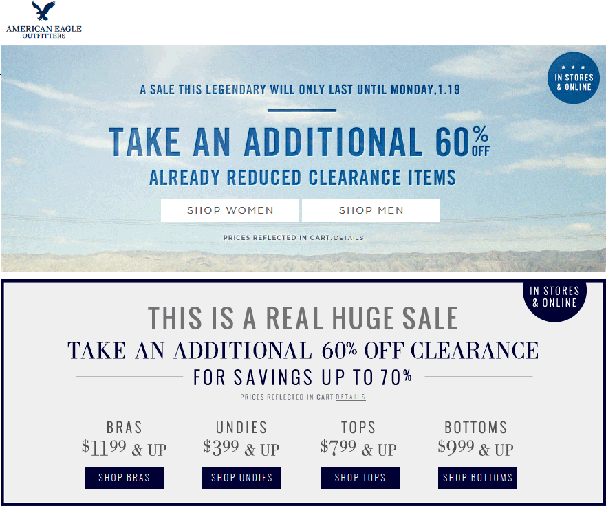American Eagle Outfitters Coupon November 2017 Extra 60% off clearance at American Eagle Outfitters, ditto online