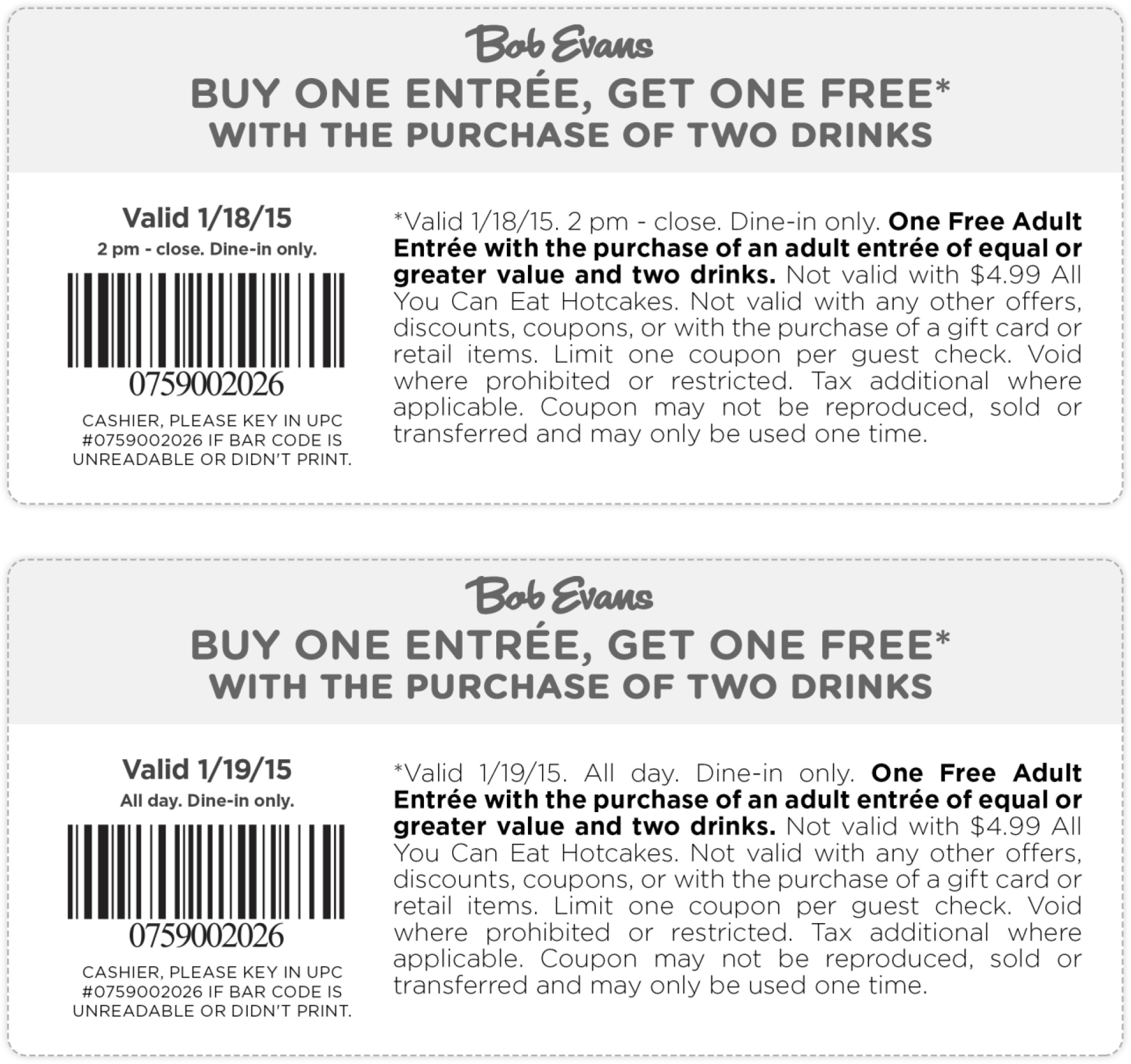 Bob Evans Coupon January 2017 Second entree free at Bob Evans