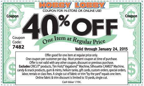 Hobby Lobby Coupon October 2016 40% off a single item at Hobby Lobby, or online via promo code 7482