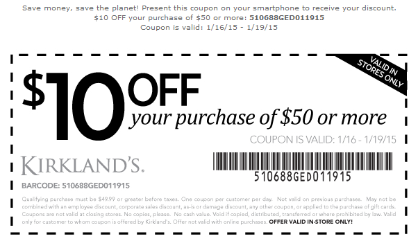 Kirklands Coupon June 2018 $10 off $50 at Kirklands