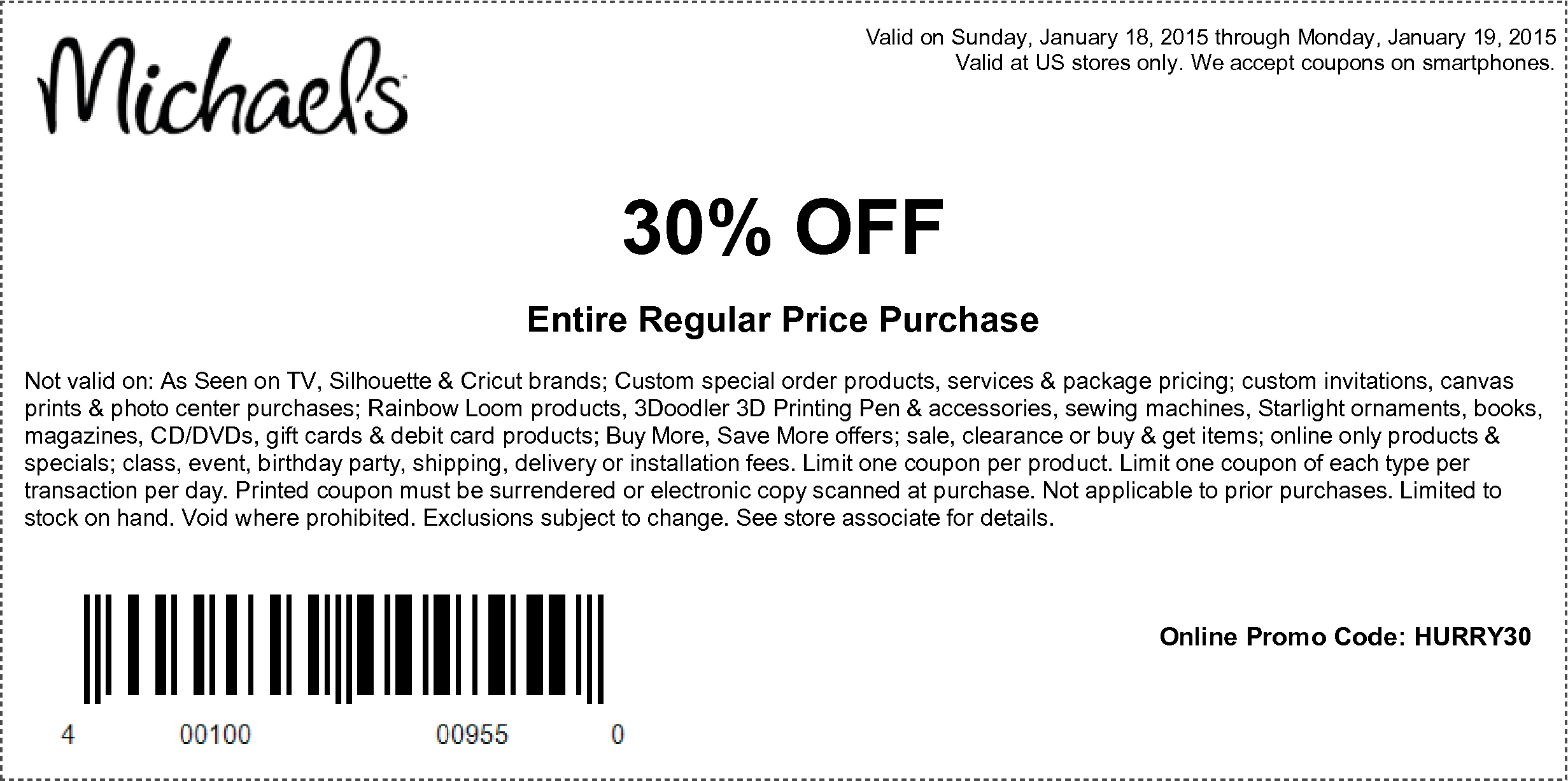 Michaels Coupon December 2016 30% off at Michaels, or online via promo code HURRY30