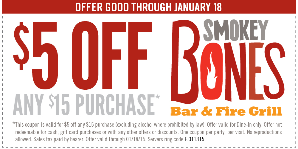 Smokey Bones Coupon December 2016 $5 off $15 today at Smokey Bones bar & grill