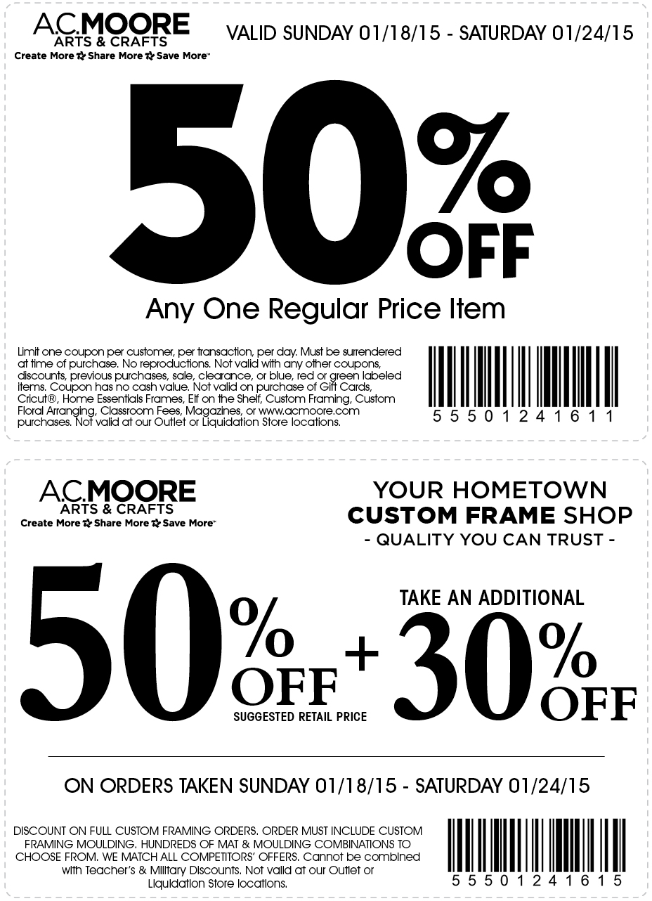 A.C. Moore Coupon May 2018 50% off a single item & more at A.C. Moore