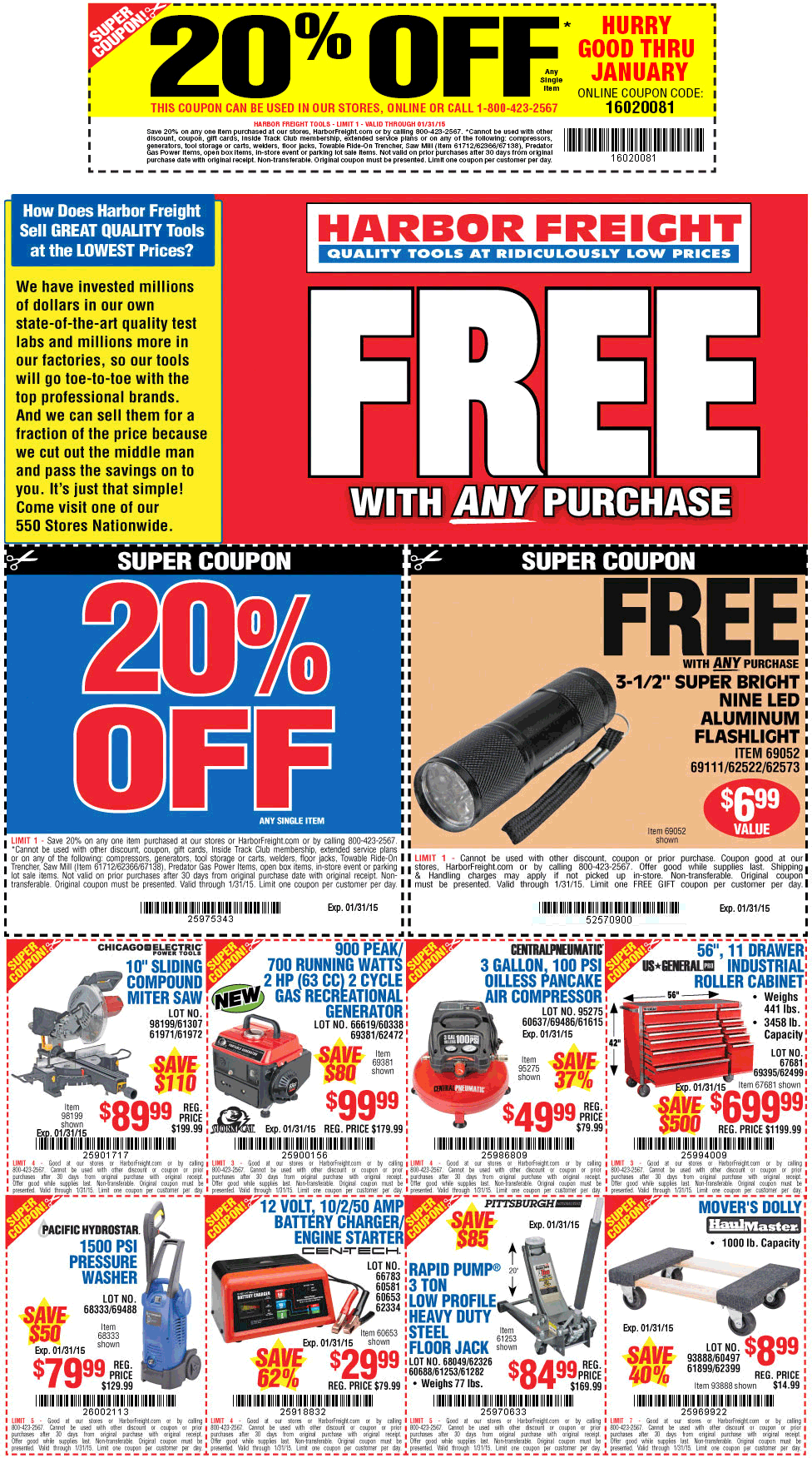 Harbor Freight Coupon October 2016 20% off a single item at Harbor Freight Tools, or online via promo code 16020081