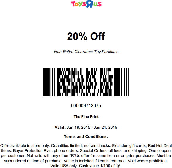 Toys R Us Coupon July 2018 20% off clearance toys at Toys R Us