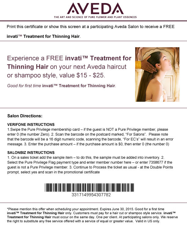 Aveda Coupon June 2017 Invati hair treatment free with your cut or style at Aveda