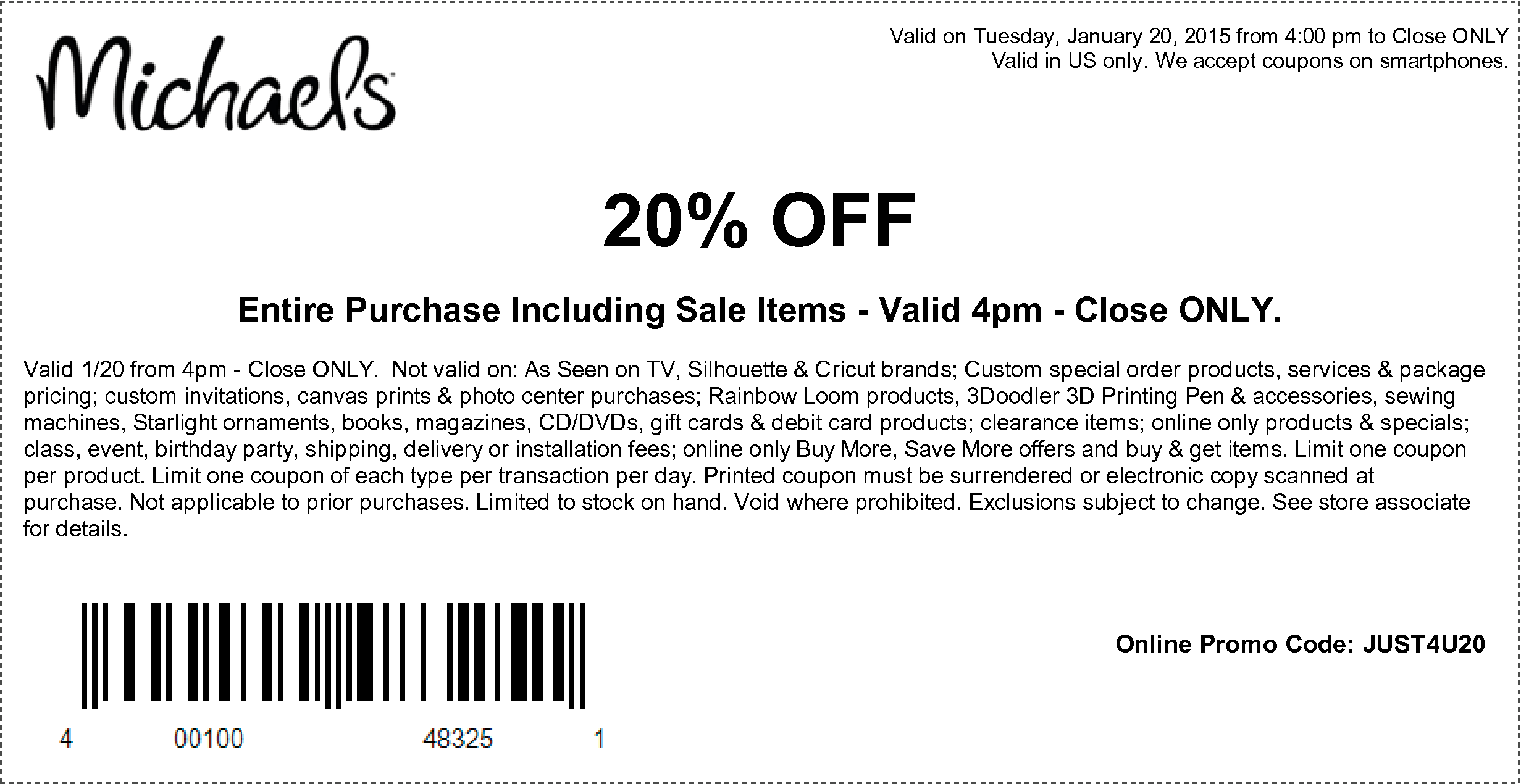 Michaels Coupon July 2018 20% off everything after 4pm today at Michaels, or online via promo code JUST4U20