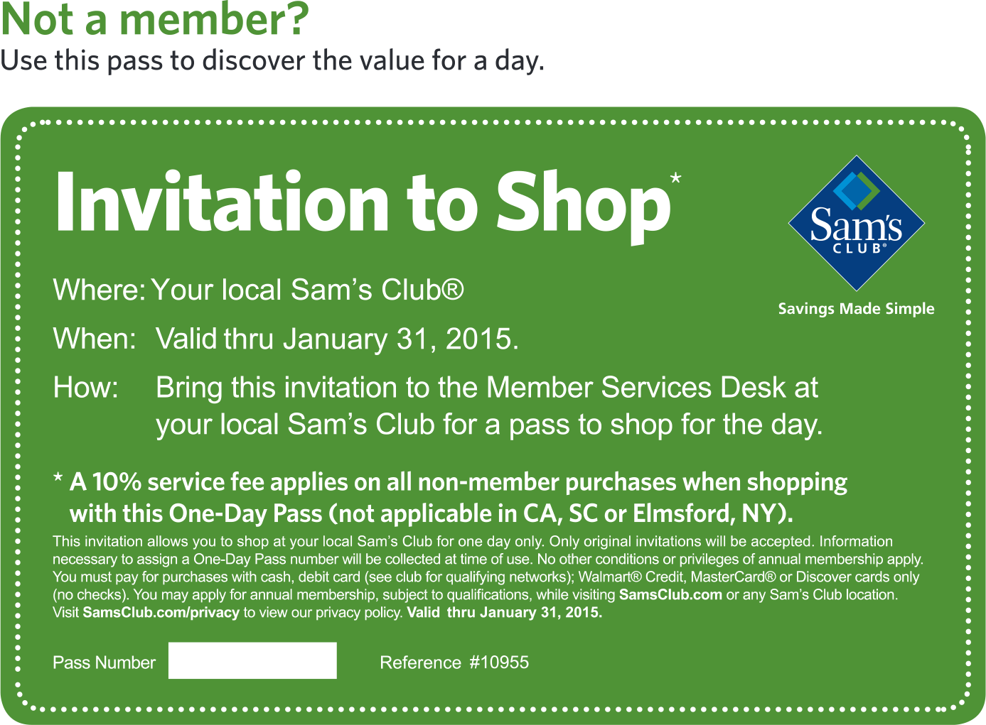 Sams Club Coupon February 2017 Free day entrance as non-member at Sams Club