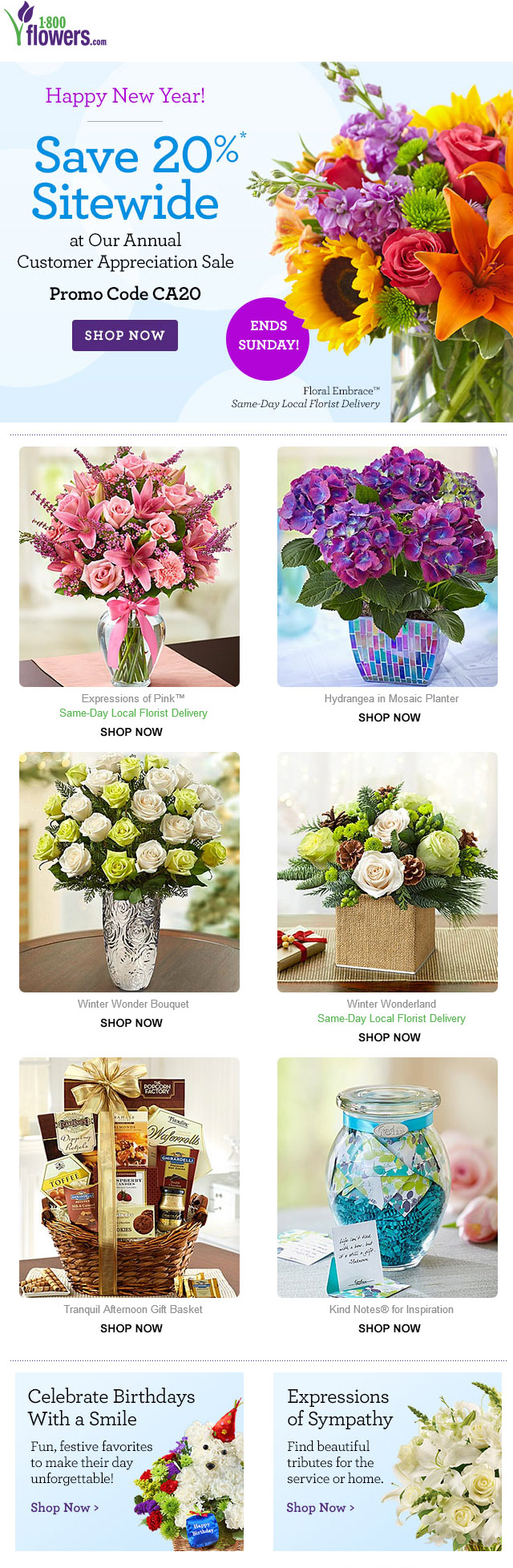 1-800-Flowers Coupon January 2018 20% off at 1-800-Flowers via promo code CA20