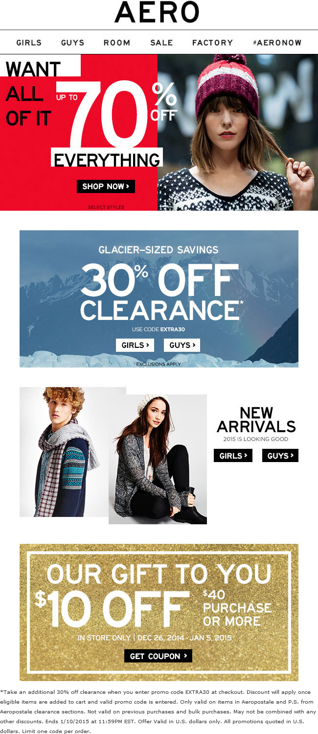 Aeropostale Coupon May 2019 Extra 30% off clearance & more at Aeropostale, or online via promo code EXTRA30