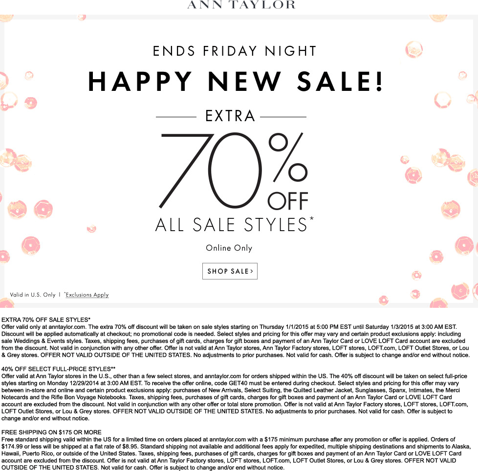 Ann Taylor Coupon August 2018 Extra 70% off sale styles online today at Ann Taylor