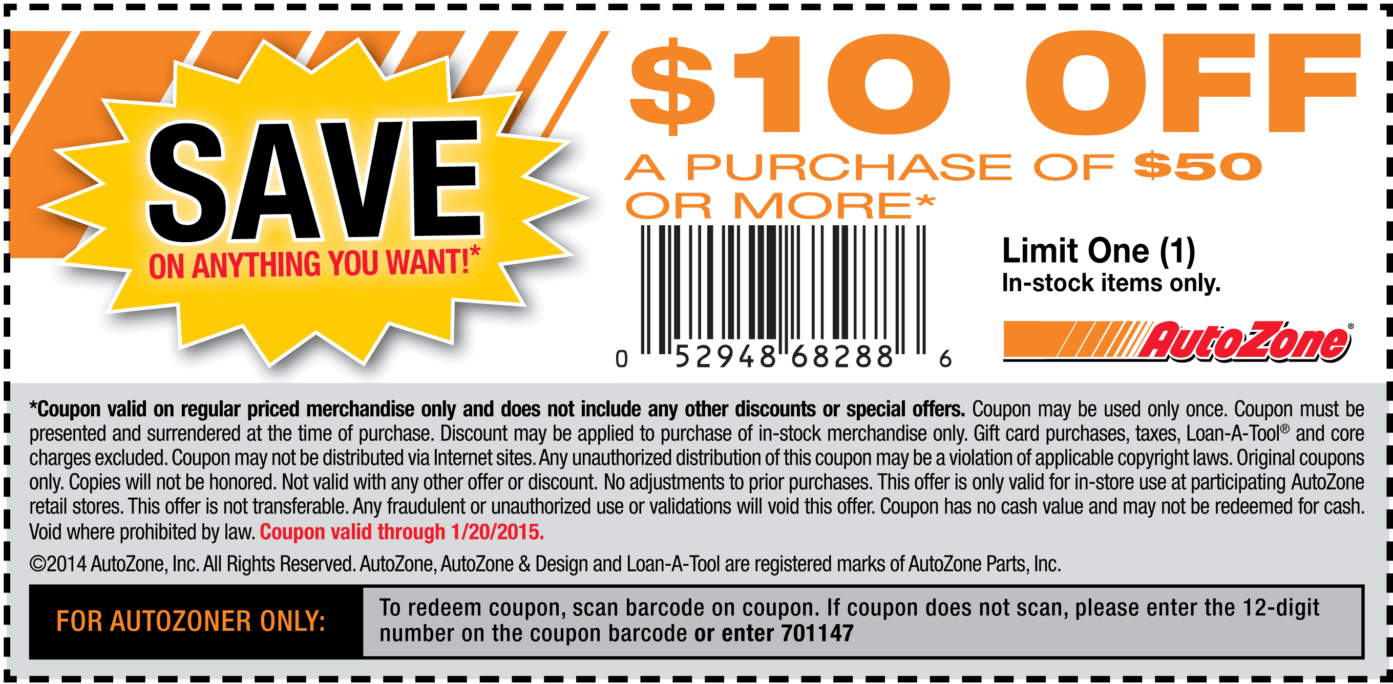AutoZone Coupon January 2017 $10 off $50 at AutoZone