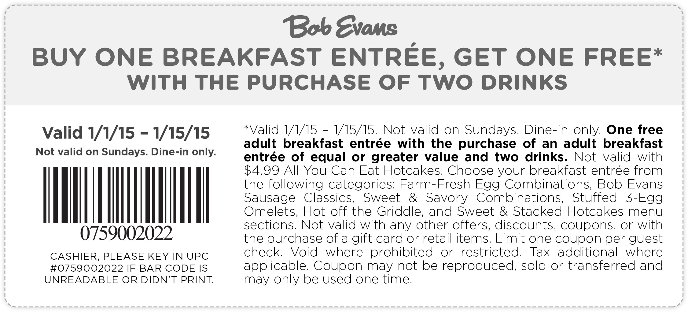 Bob Evans Coupon October 2016 Second breakfast free at Bob Evans
