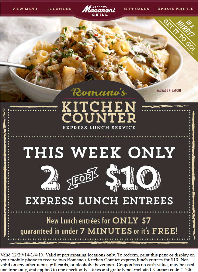 Macaroni Grill Coupon January 2017 Two lunches for $10 in under 7 minutes or free at Macaroni Grill restaurants