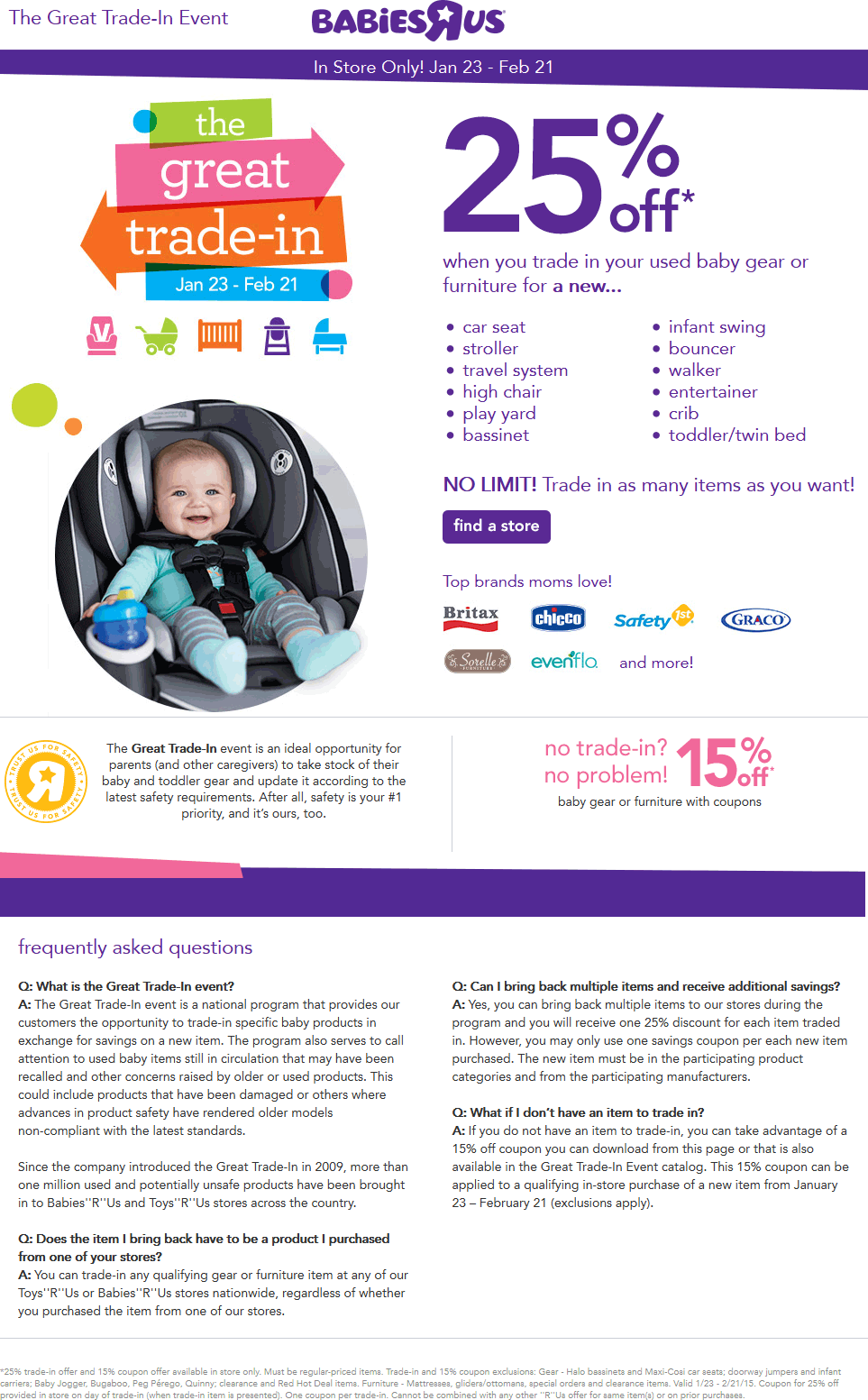 Babies R Us Coupon January 2018 Upgrade for 25% off baby gear with your trade-in at Babies R Us