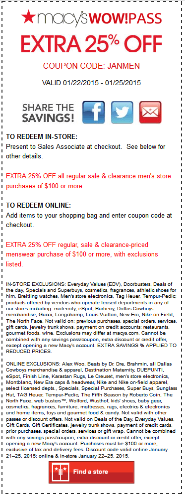 Macys Coupon July 2017 25% off $100 on menswear at Macys, or online via promo code JANMEN