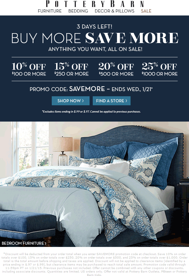 Pottery Barn Coupon May 2017 10-25% off $100+ online today at Pottery Barn via promo code SAVEMORE