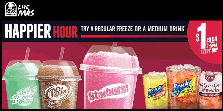 Taco Bell Coupon October 2017 Freeze or medium drink for $1 2-5pm daily at Taco Bell