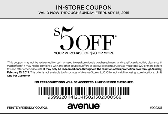 Avenue Coupon February 2019 $5 off $20 at Avenue, or online via promo code AV151234