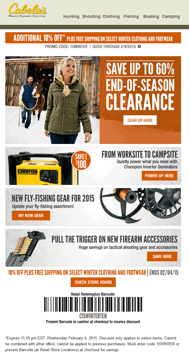 Cabelas Coupon January 2018 Various winter gear is 10% off at Cabelas, or online via promo code 15WINTER