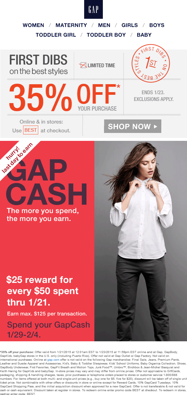 Gap Coupon January 2017 35% off at Gap, or online via promo code BEST