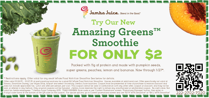 Jamba Juice Coupon November 2018 Greens smoothie for just $2 bucks at Jamba Juice