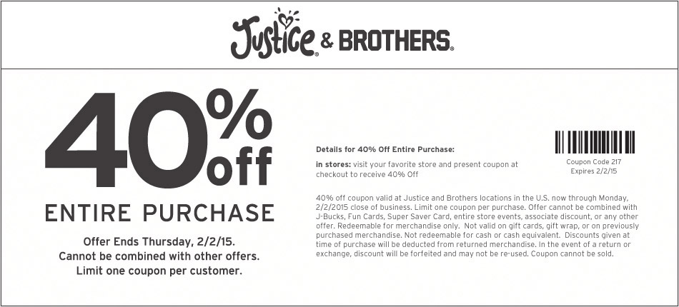 Justice Coupon December 2016 40% off everything at Justice & Brothers, or online via promo code 217