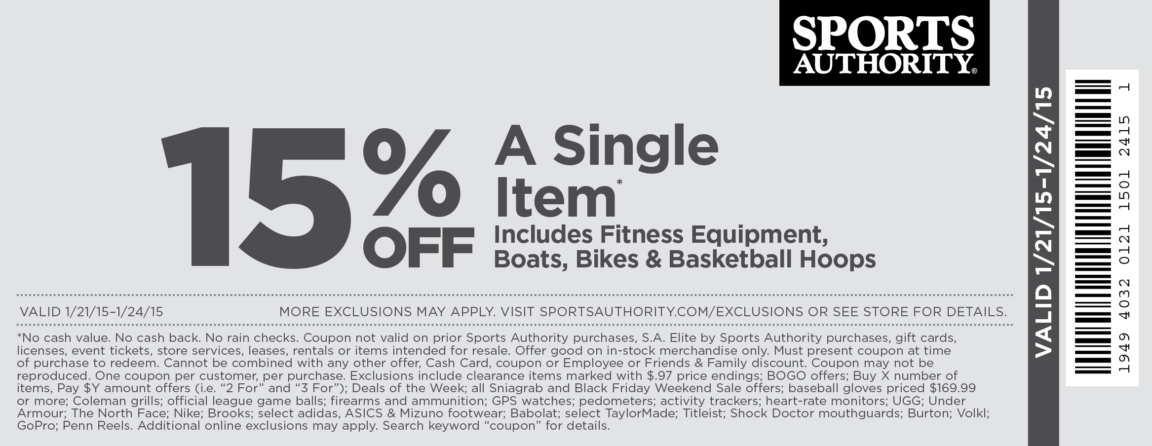 Sports Authority Coupon August 2017 15% off a single item at Sports Authority, ditto online