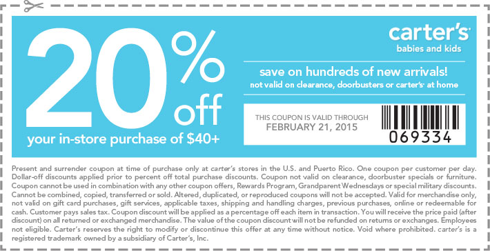 Carters Coupon September 2017 20% off $40 at Carters