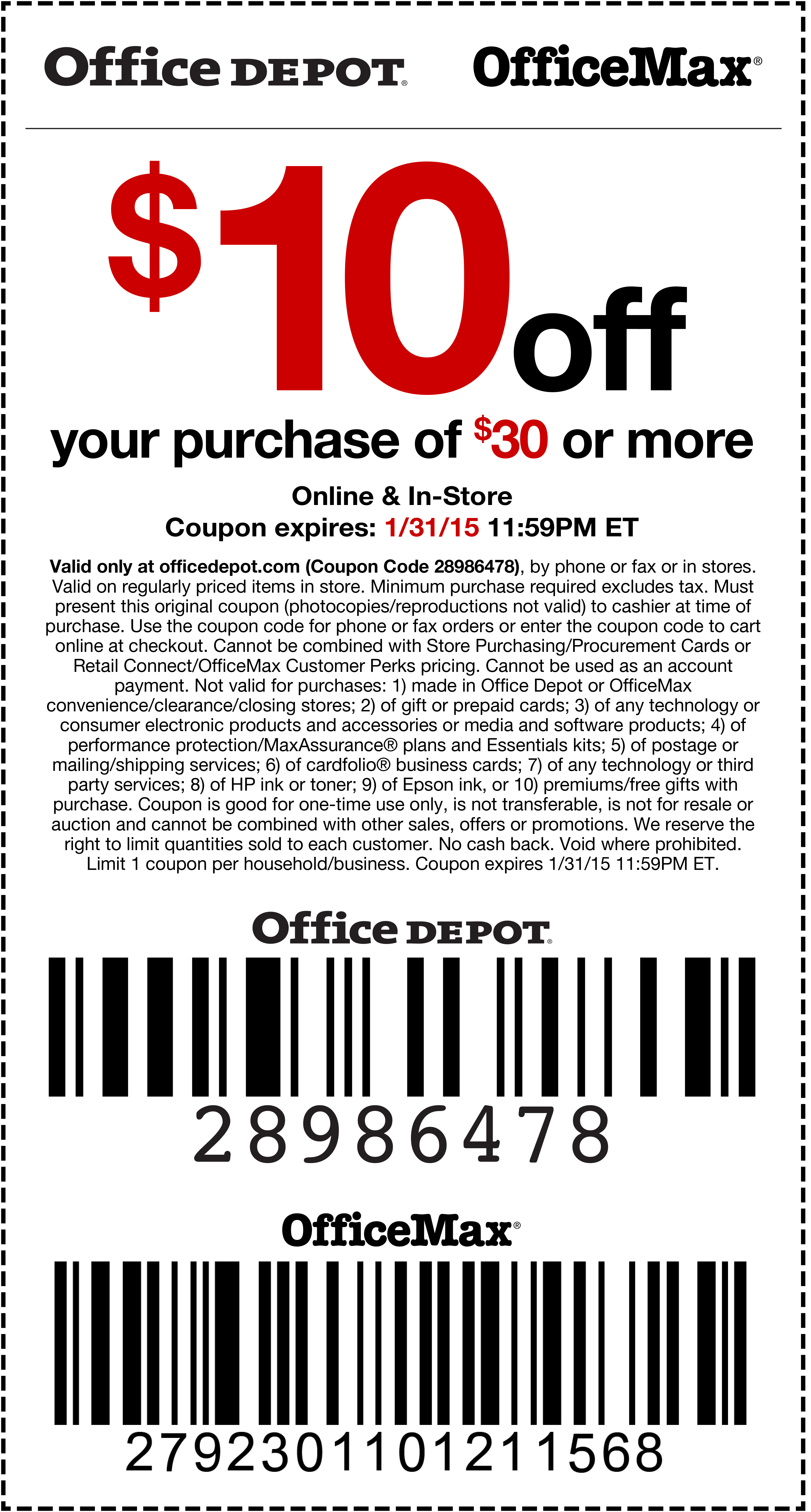 Office Depot Coupon May 2017 $10 off $30 at Office Depot & OfficeMax, or online via promo code 28986478