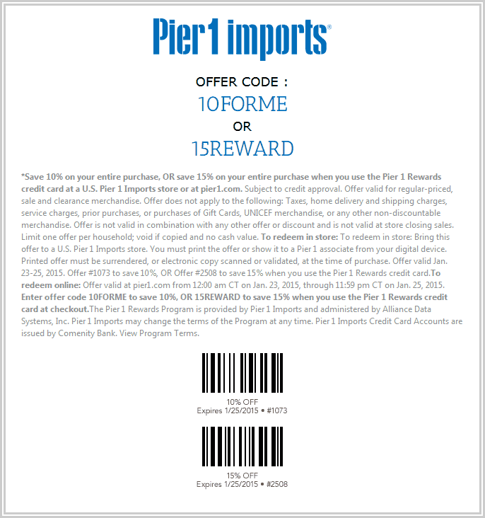 Pier 1 Coupon May 2018 Quick 10% off everything at Pier 1 Imports, or online via promo code 10FORME