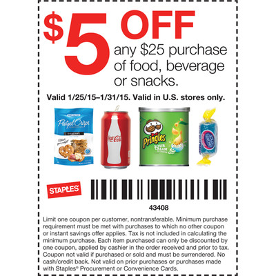 Staples Coupon April 2018 $5 off $25 on food & snacks at Staples