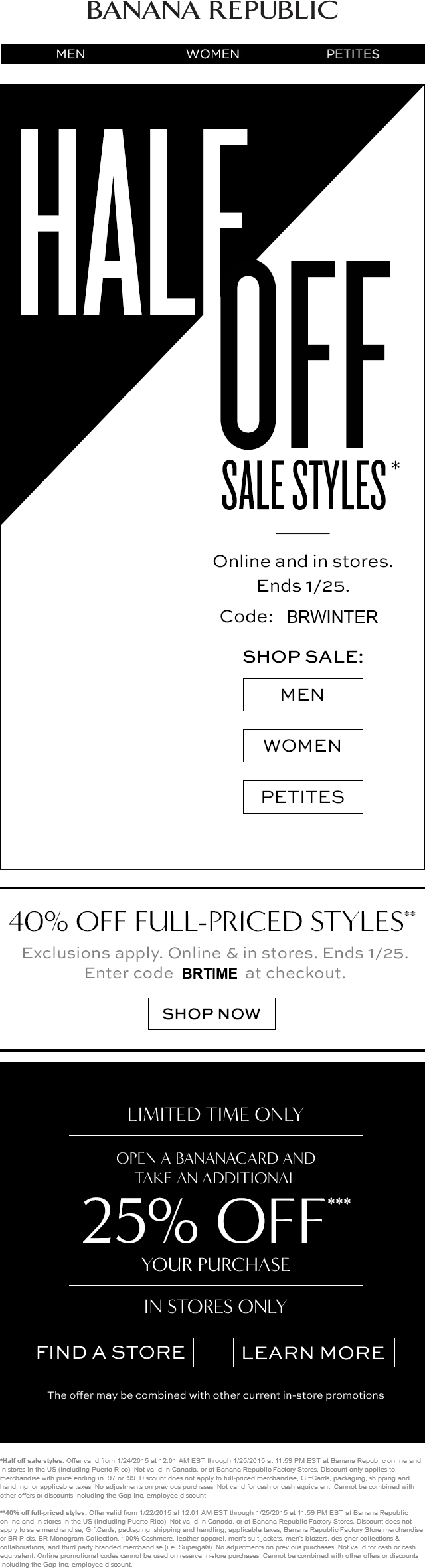 Banana Republic Coupon March 2018 40% off regular & 50% off sale at Banana Republic, or online via promo code BRWINTER