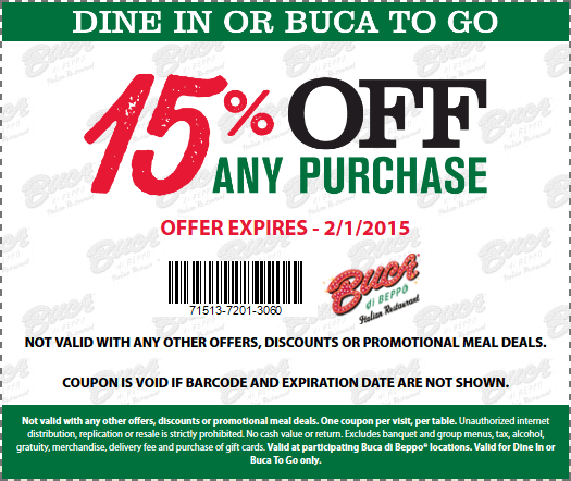 Buca di Beppo Coupon January 2017 15% off at Buca di Beppo Italian restaurants