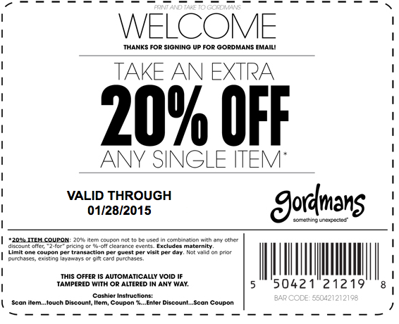 Gordmans Coupon September 2017 Extra 20% off a single item at Gordmans
