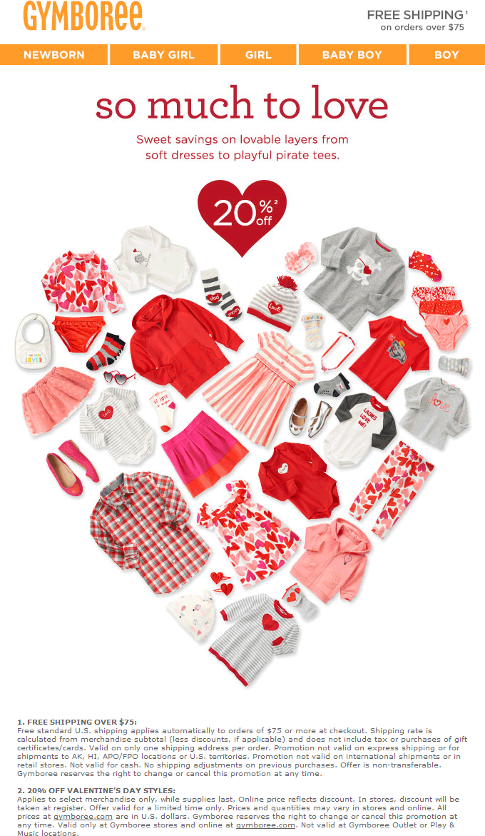 Gymboree Coupon November 2018 20% off Valentines styles at Gymboree, ditto online