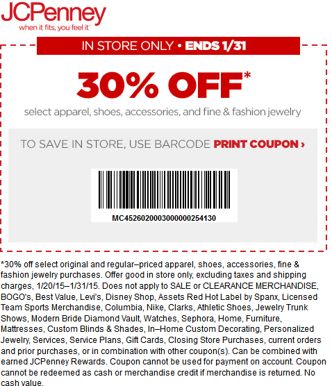 JCPenney Coupon December 2016 30% off at JCPenney