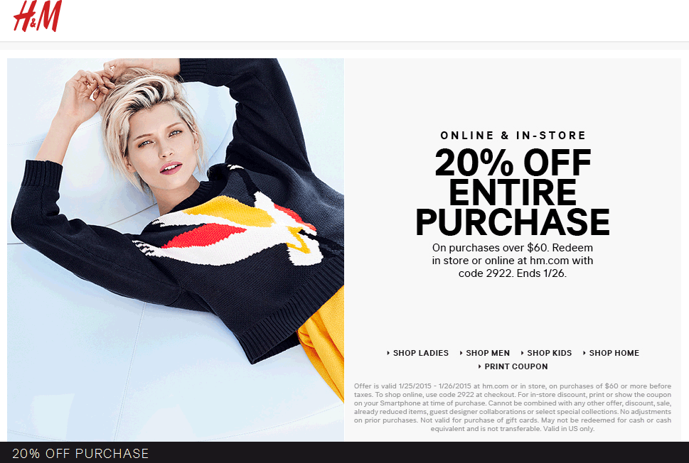 H&M Coupon October 2016 20% off $60 at H&M, or online via promo code 2922
