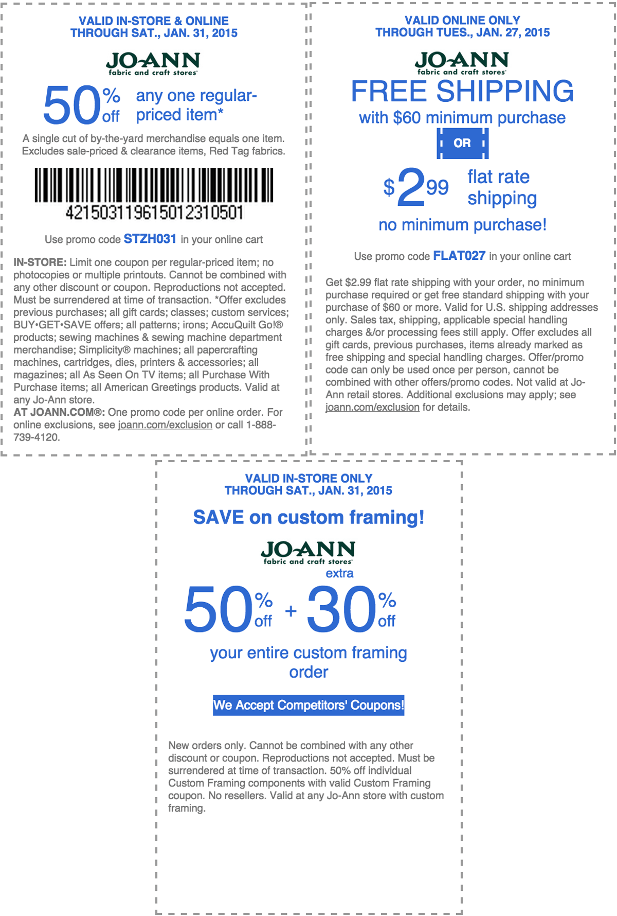 Jo-Ann Fabric Coupon January 2017 50% off a single item & more at Jo-Ann Fabric, or online via promo code STZH031