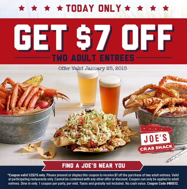Joes Crab Shack Coupon December 2016 $7 off a couple entrees today at Joes Crab Shack