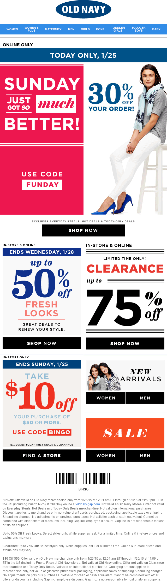 Old Navy Coupon October 2017 $10 off $50 today at Old Navy, or 30% online via promo code FUNDAY