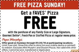 Papa Murphys Coupon October 2016 Second pizza free today at Papa Murphys